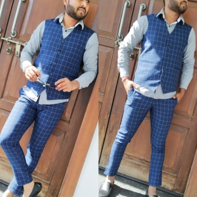 Men's check waistcoat with pant