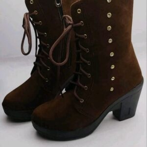 women's solid brown boot shoes