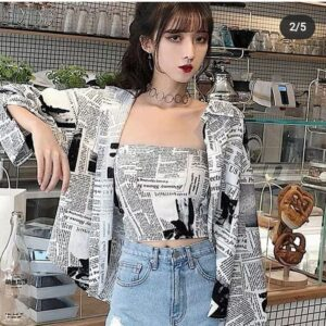 Paper print shirt with tube top