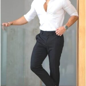 Formal White Shirt with black pant & Brown Shoes