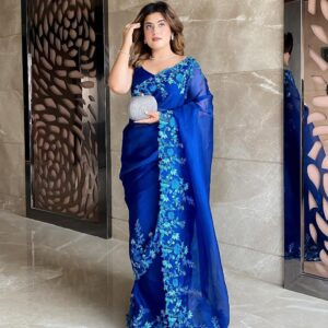 Silk With Embroidery Work Saree